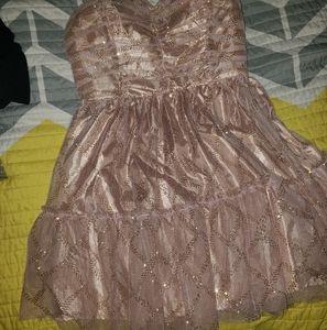 Beautiful gold tan sparkle party dress lace mesh